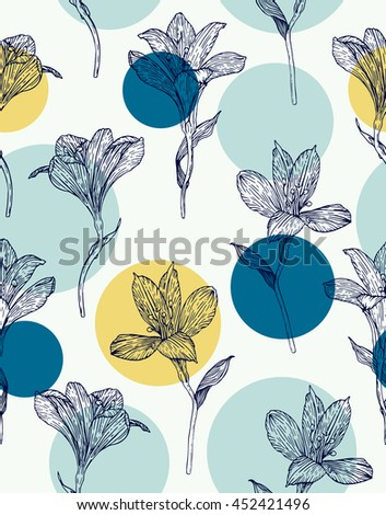 Seamless floral pattern. Pattern with hand drawn flowers. Alstroemeria. Seamless pattern with hand drawn plants. Vector. Herbal background.  Botanical illustration.  - stock vector
