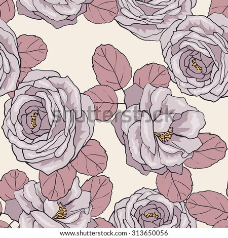 Seamless floral pattern. Roses. Vector background 3