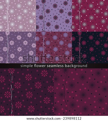 Seamless floral pattern. Set of colorful floral patterns. Seamless pattern can be used for wallpaper, pattern fills, wrapping paper, surface textures. Abstract floral background with simple shapes.