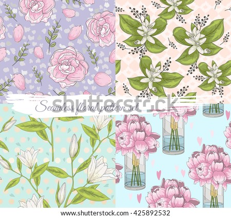 Seamless floral pattern set. Summer or spring vector background. - stock vector