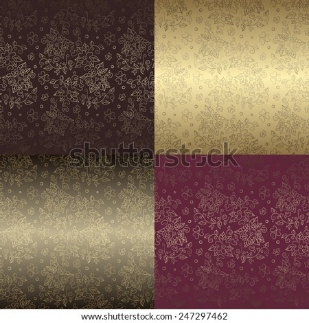 Seamless floral pattern set with gold elements. Vector elegant abstract backgrounds, luxury design - stock vector