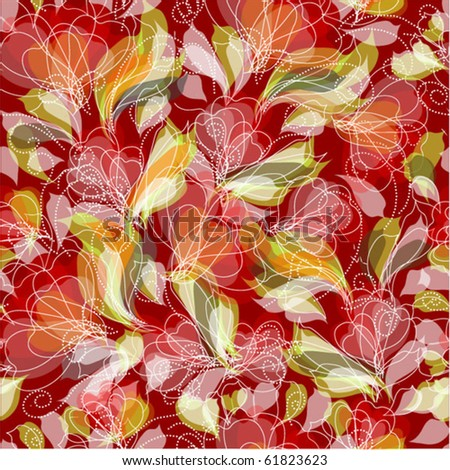 Seamless floral pattern. Vector - stock vector