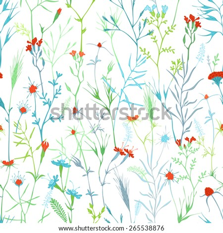 Seamless floral pattern. Vector background of flowers and grass. - stock vector