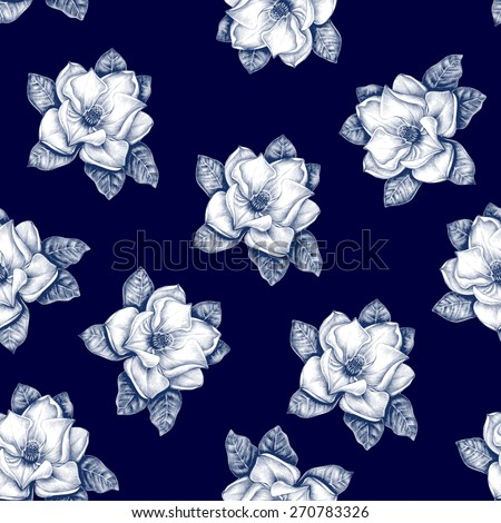 Seamless floral pattern. Vector. Black and white. Magnolia. - stock vector