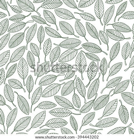 Seamless floral pattern. Vector drawing in green tones. Illustration of  leaves. Page in coloring.