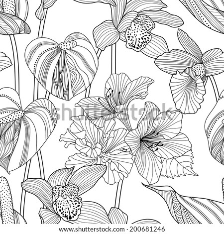 Seamless floral pattern. Vector illustration with tropical flowers - stock vector
