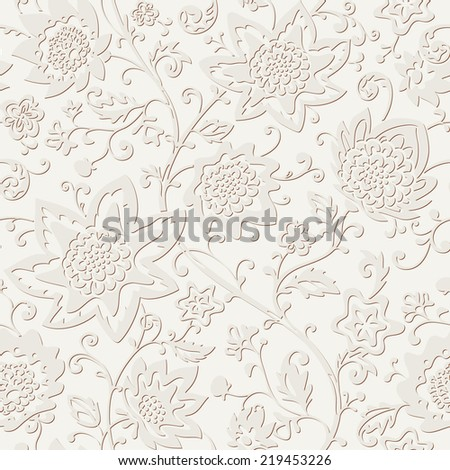 Seamless floral pattern. Vector ornamental background. Abstract texture with flowers. - stock vector