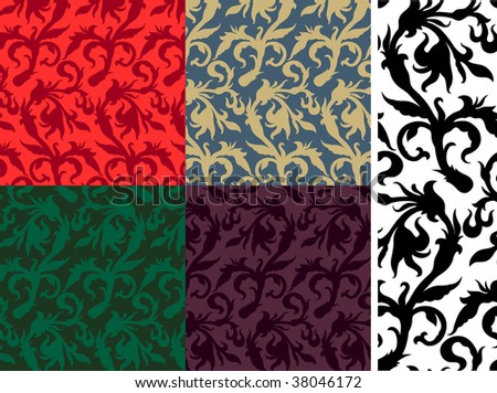 Seamless floral pattern. Vector, pattern swatches included. - stock vector