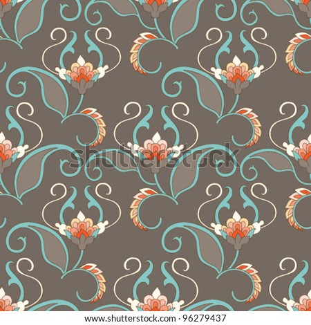 Seamless floral pattern. Vector vintage background. - stock vector