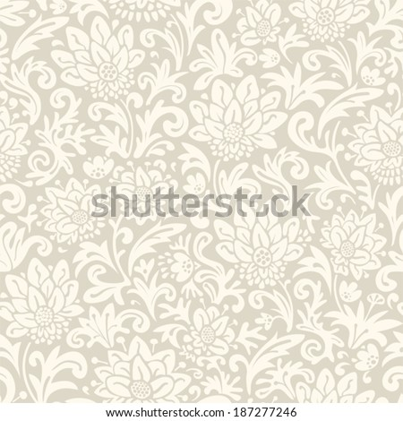Seamless floral pattern. Vector vintage background. Abstract texture with flowers.  - stock vector