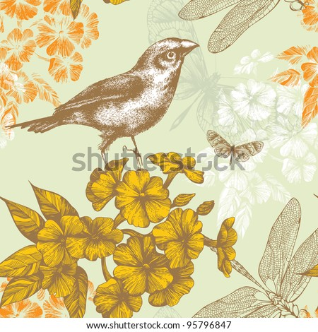 Seamless floral pattern with a bird flying butterflies and dragonflies. Hand drawing. Vector. - stock vector