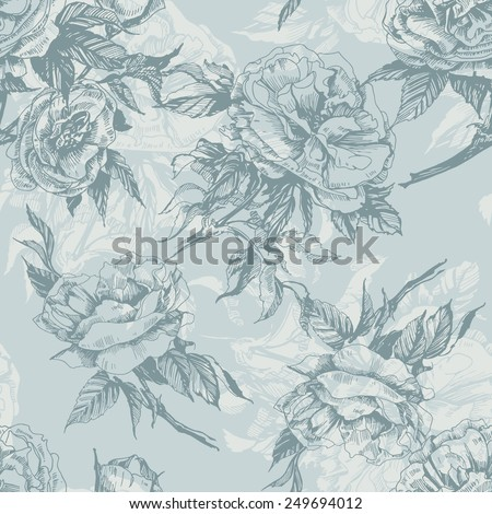 Seamless floral pattern with a blossoming branch of wild rose. Vector  Illustration - stock vector