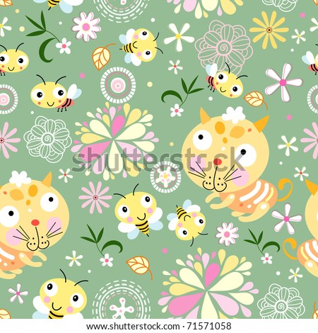 seamless floral pattern with bees and kittens - stock vector