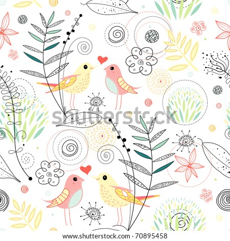 Seamless floral pattern with birds in love - stock vector