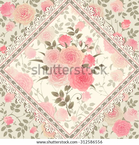 Seamless floral pattern with bouquet of roses, leaves and lacy frame. Vector rhombus tiled background. - stock vector