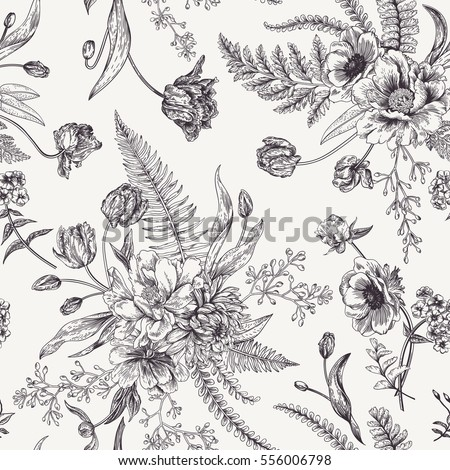 Seamless Floral Pattern With Bouquets Of Spring Flowers Black And White Vector Illustration Vintage