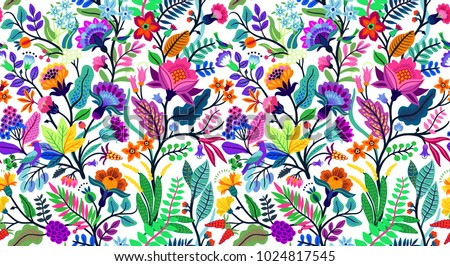 Seamless Floral Pattern With Bright Colorful Flowers And Tropic Leaves On A  White Background. The