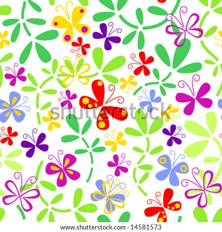 Seamless floral pattern with butterflies - stock vector