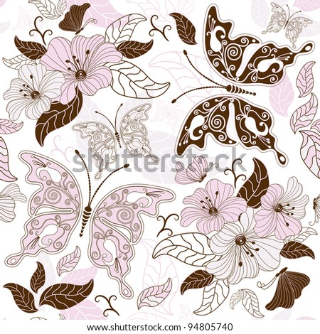 Seamless floral pattern with butterflies and flowers (vector)