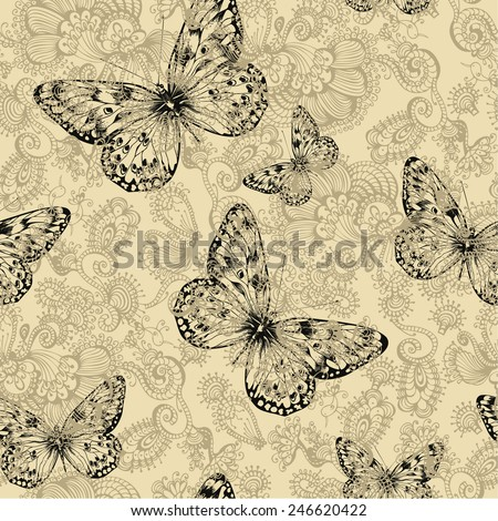 Seamless floral pattern with butterflies, hand-drawing. Vector illustration. - stock vector