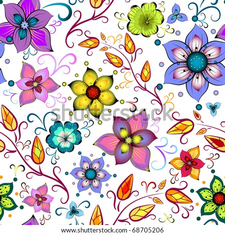 Seamless floral pattern with chaotic flowers (vector) - stock vector