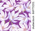 Seamless floral pattern with crocus - stock vector