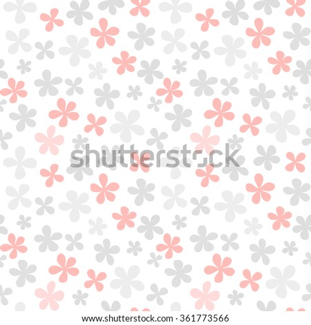 Seamless floral pattern with cute simple flowers. Vector illustration - stock vector