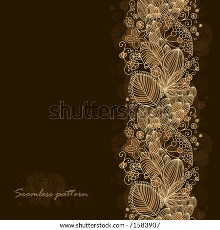 Seamless floral pattern with dark background and place for text - stock vector