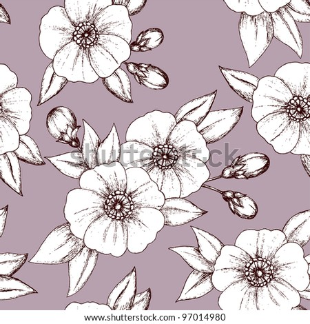 Seamless floral pattern with detailed vintage flowers and buds - stock vector