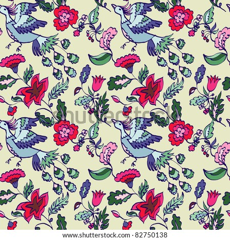 Seamless floral pattern with firebird on a light background - stock vector