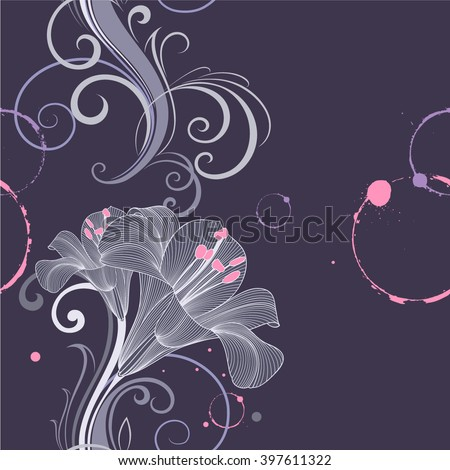 Seamless floral pattern with flower lily. Element for design. Hand-drawing vector illustration. - stock vector
