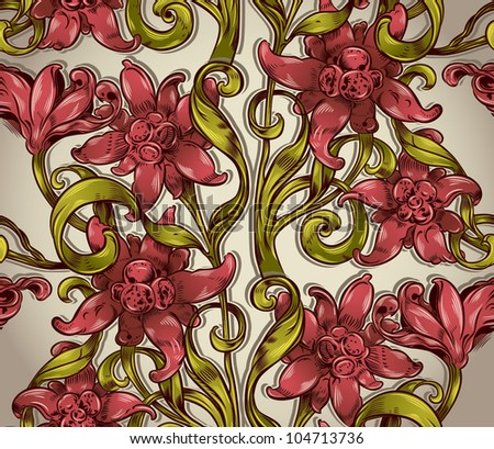 Seamless floral pattern with flowers leaves and branches, Victorian style vector repeat background. - stock vector