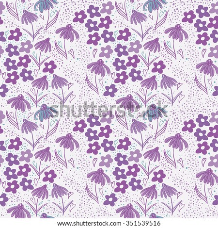 Seamless floral pattern with folk motif. Pretty doodle flowers and textures - stock vector