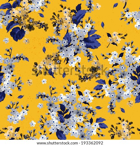 Seamless floral pattern with forget-me-not. Vector background. - stock vector