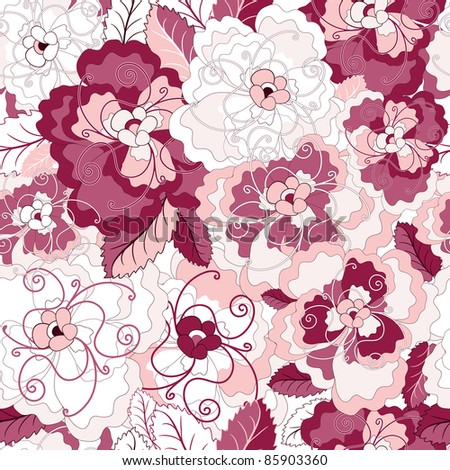 Seamless floral pattern with gentle pink and purple flowers (vector) - stock vector