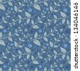 Seamless floral pattern with geometric stylized leaves and flowers. Can be used to fabric design, wallpaper, decorative paper, web design, etc. Swatches of seamless patterns included in the file. - stock vector