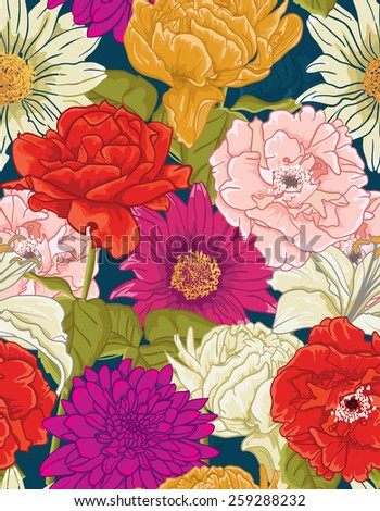 Seamless Floral Pattern With hand-drawn different Flowers. Colorful design - stock vector