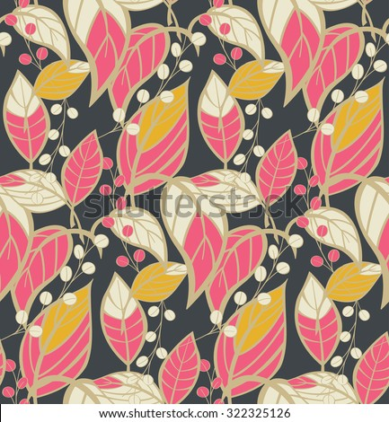 Seamless floral pattern with hand drawn leaves, vector illustration - stock vector