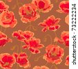 Seamless floral pattern with hand-drawn poppy flower - stock photo