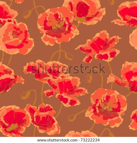 Seamless floral pattern with hand-drawn poppy flower - stock vector