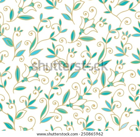 Seamless floral pattern with harebell - stock vector