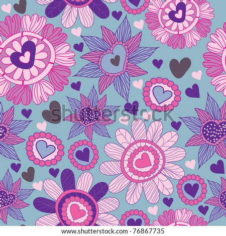 seamless floral pattern with heart - stock vector