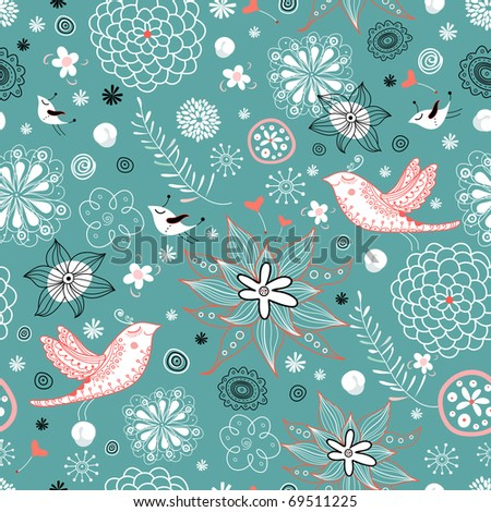 Seamless floral pattern with hearts and birds