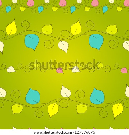 Seamless floral pattern with leaves Spring background - stock vector
