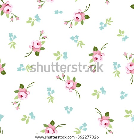 Seamless floral pattern with little flowers pink roses, vector floral illustration in vintage style. - stock vector