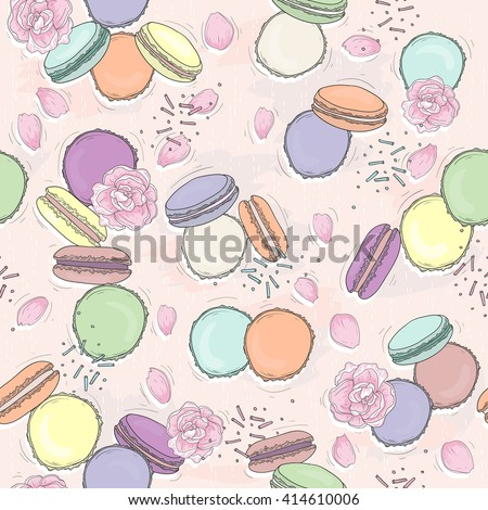 Seamless  floral pattern with macaroons. Vector background with sweets and flowers. - stock vector