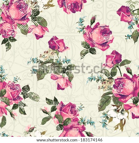 Seamless floral pattern with of pink roses with ornament. Vector background. - stock vector