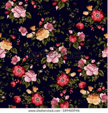 Seamless floral pattern with of roses on dark background, watercolor. Vector illustration. - stock vector