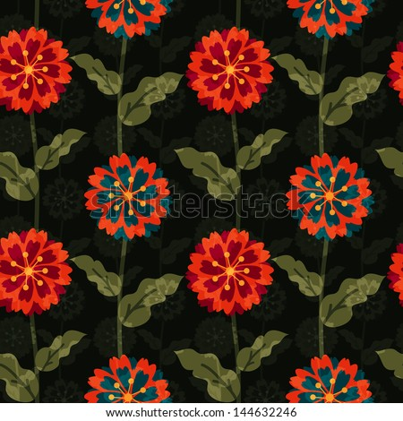 Seamless floral pattern with overlay - stock vector