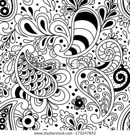 Seamless floral pattern with paisley in vector. - stock vector